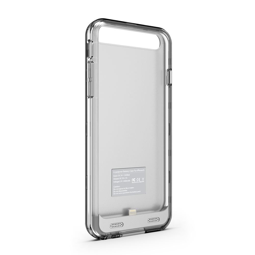 zt6 iphone 6 6s battery case silver clear zvoltz. Black Bedroom Furniture Sets. Home Design Ideas